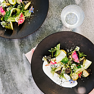charred cucumber and radish salad with yogurt