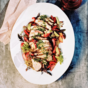 Grilled Heritage Pork with Plums, Farro Verde, and Summer Herbs