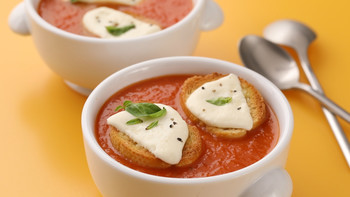 Tomato Soup with Mozzarella Toasts EH