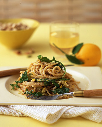 whole wheat spaghetti meyer lemon arugula