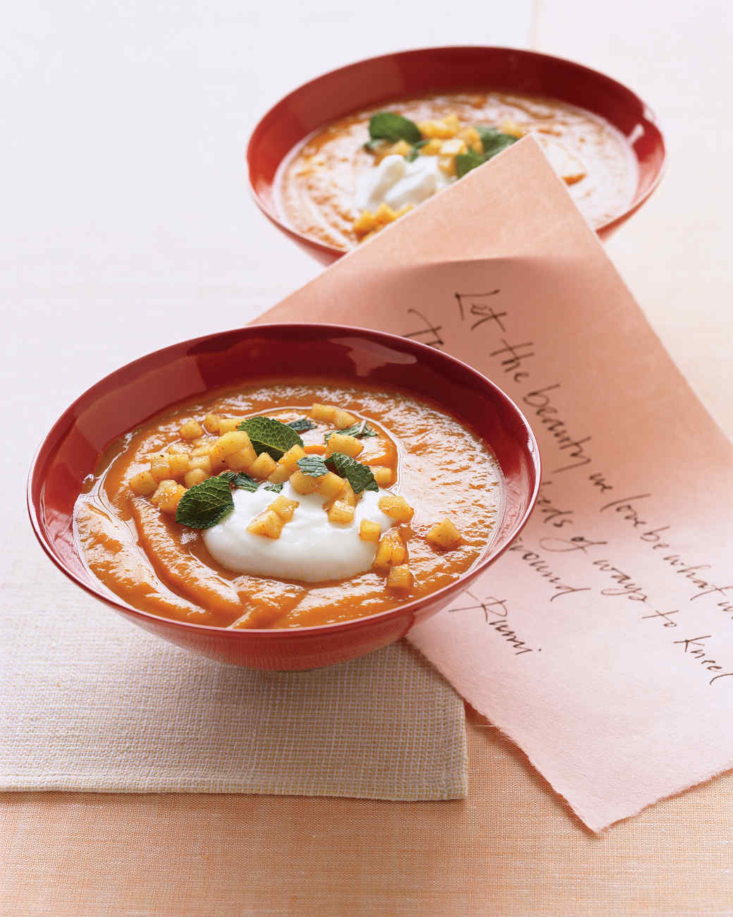 Roasted Sweet Potato Soup with Curried Apples Recipe Martha Stewart