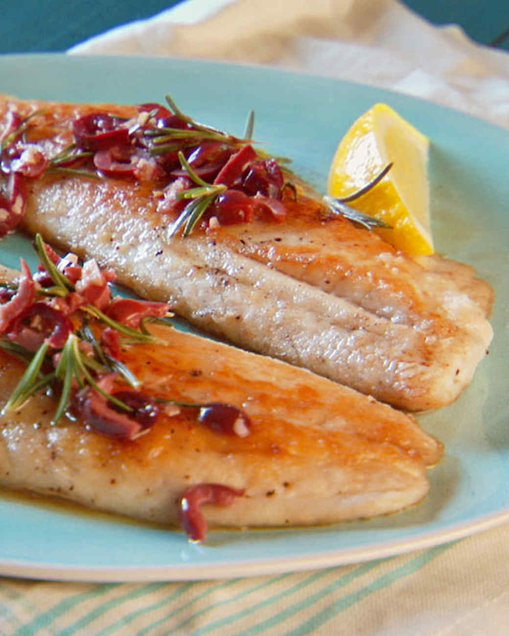 Fish fillet with rosemary recipe video martha stewart for Red fish fillet