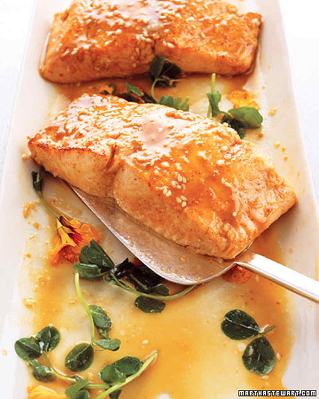 Wasabi Salmon with Miso-Sesame Sauce Recipe | Martha Stewart