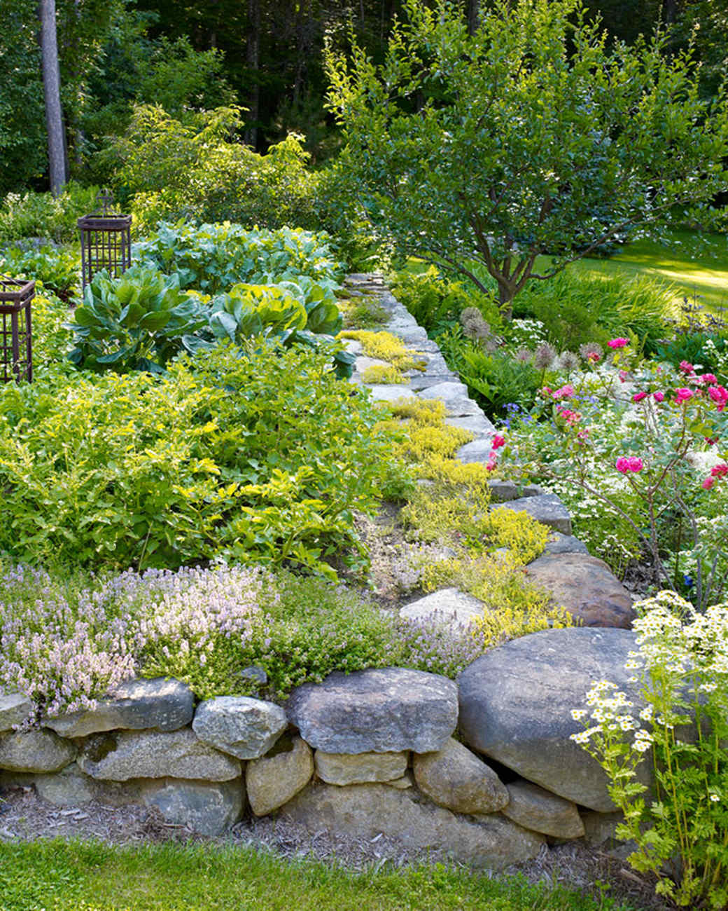 60 great ideas for the garden martha stewart for Rock wall garden