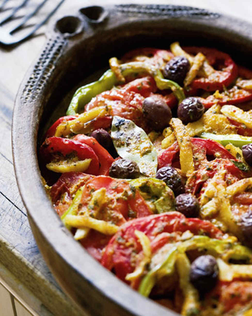 Moroccan fish tagine with tomatoes olives and preserved for Moroccan fish recipe