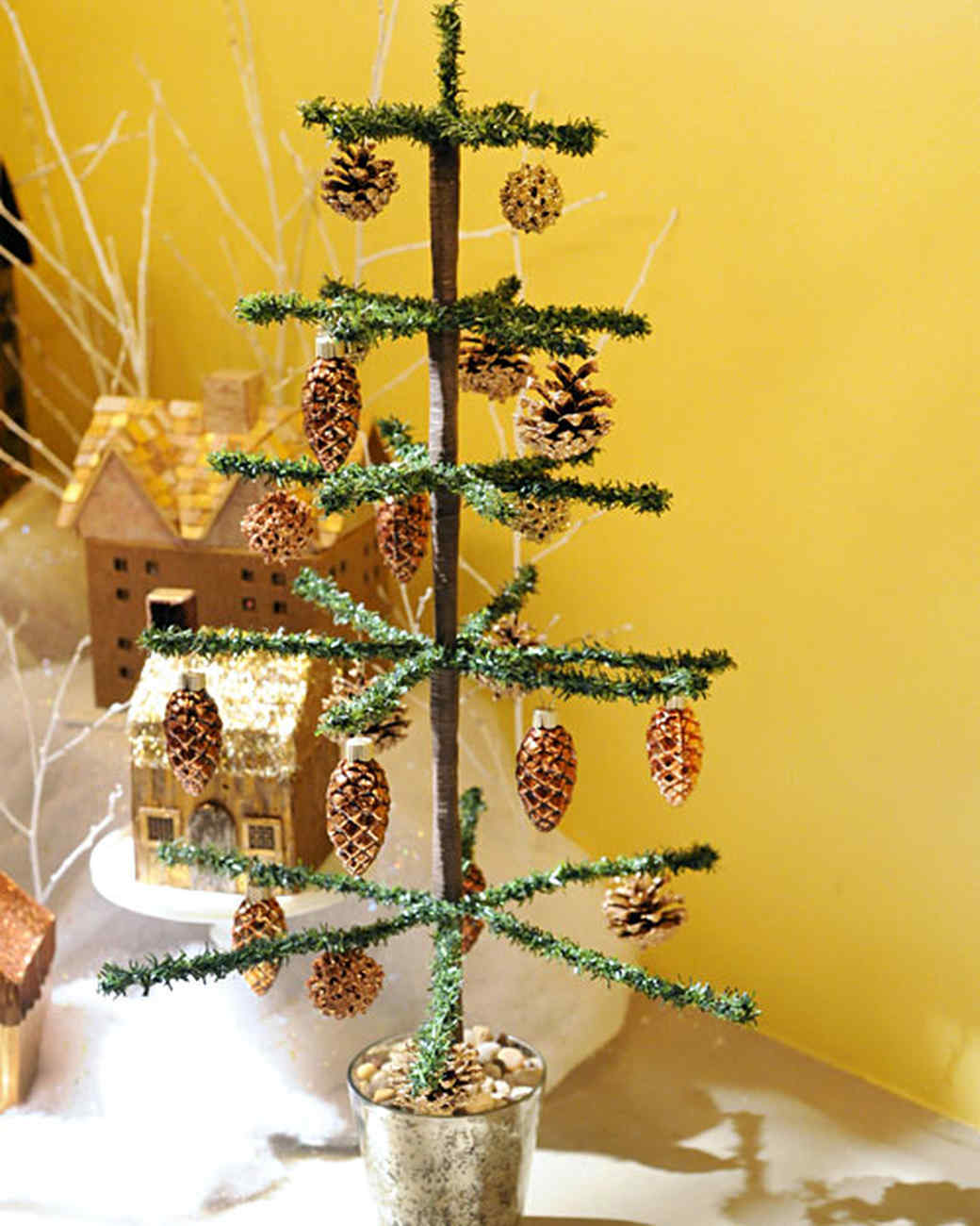 tabletop tinsel tree video martha stewart. Black Bedroom Furniture Sets. Home Design Ideas