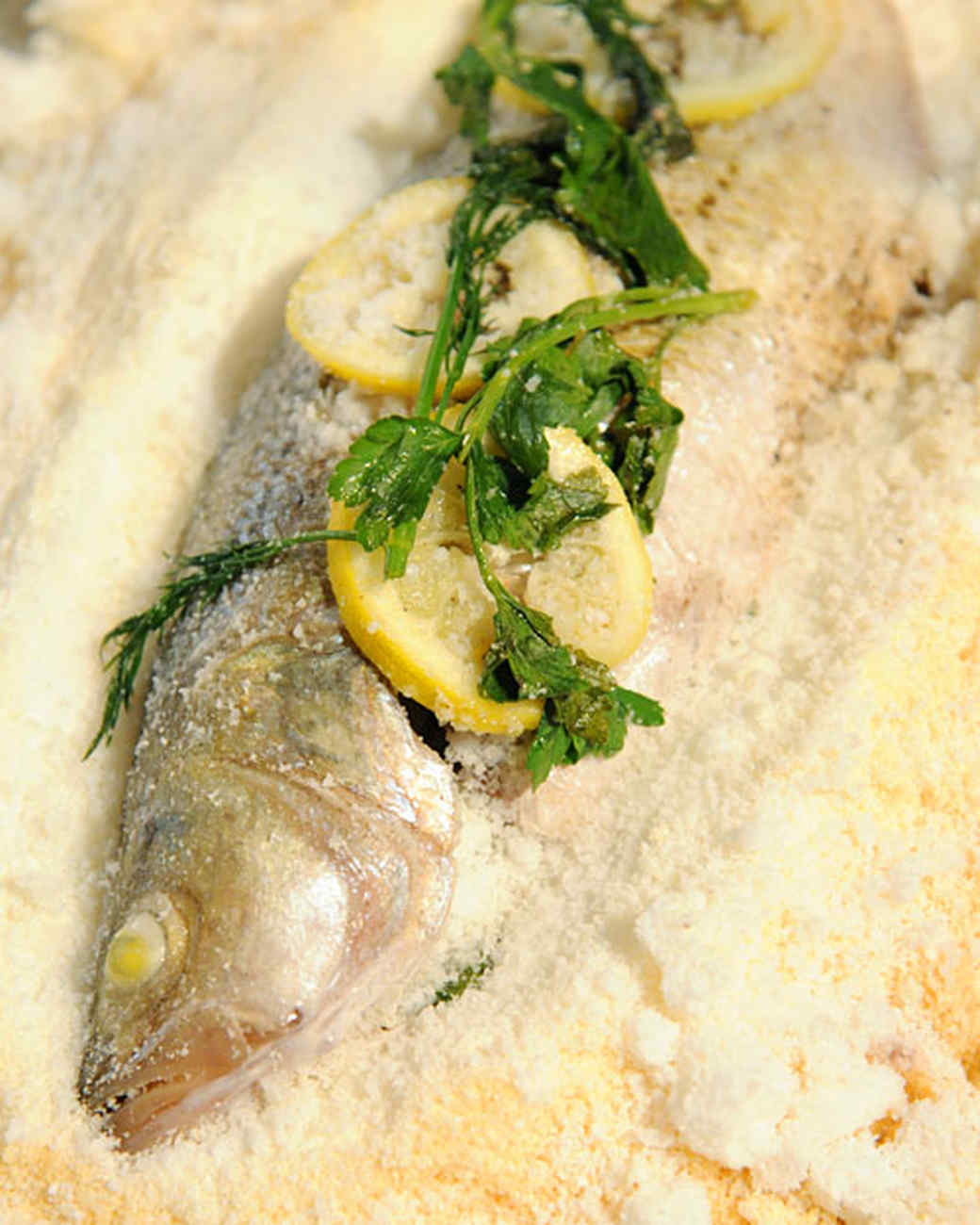 Salt-Baked Striped Bass with Herbs and Lemon