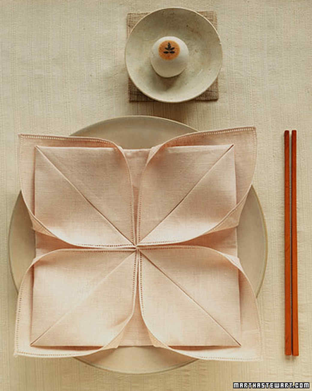 Lotus Napkin Fold Easy : NapkinFolding Ideas  Martha Stewart