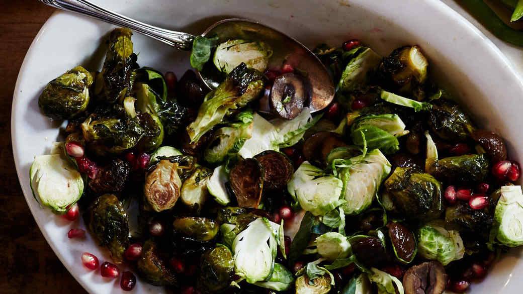 Roasted Brussels Sprouts with Chestnuts, Pomegranate, and Cider Reduction