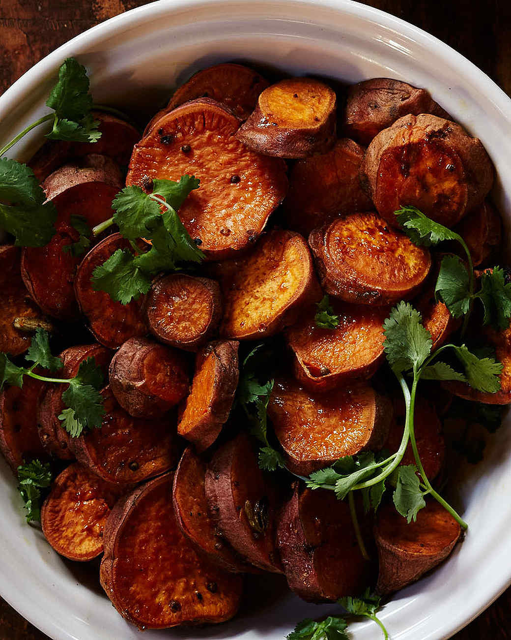 Cardamom-Scented Sweet Potato Rounds with Cilantro