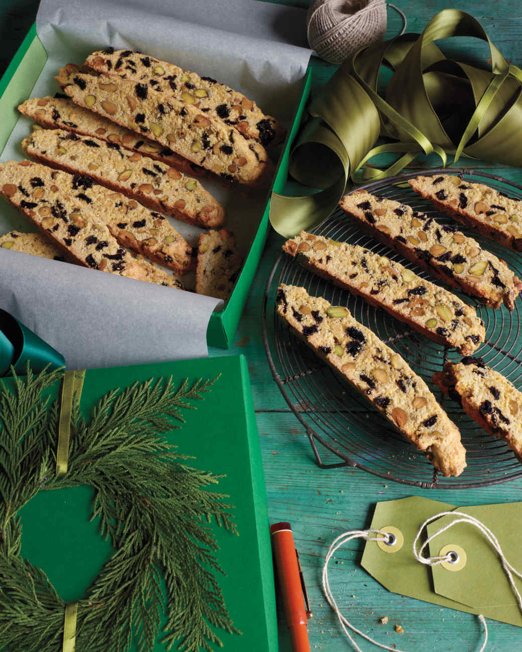 Gift wrapping ideas for home made baked goods - Coconut Pistachio Biscotti