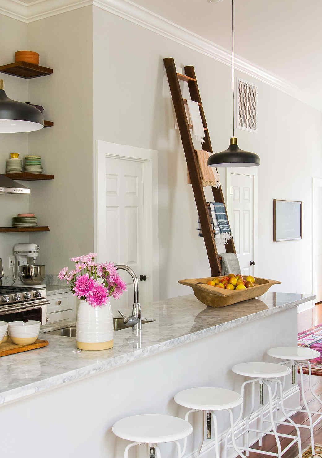 joy the baker open shelf kitchen colorful dishes