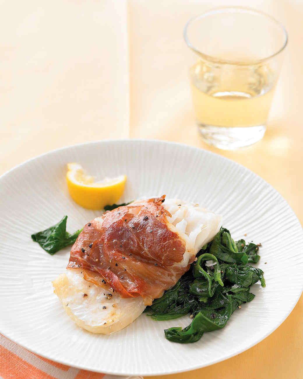 Prosciutto wrapped cod with lemony spinach recipe martha for Eating fish everyday