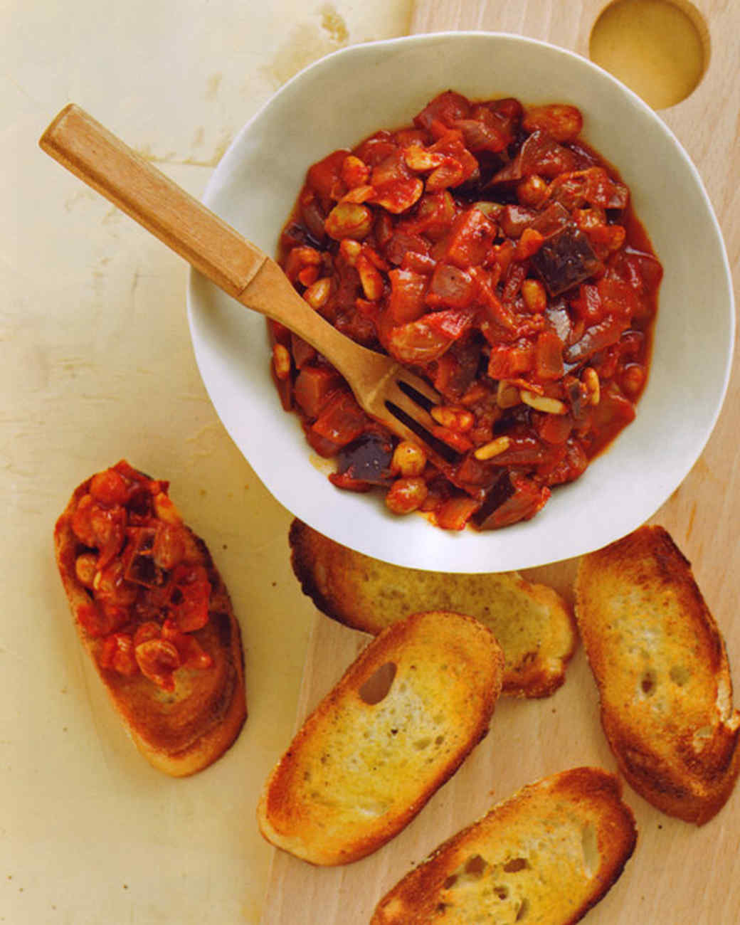 Eggplant Caponata Crostini Recipe & Video | Martha Stewart