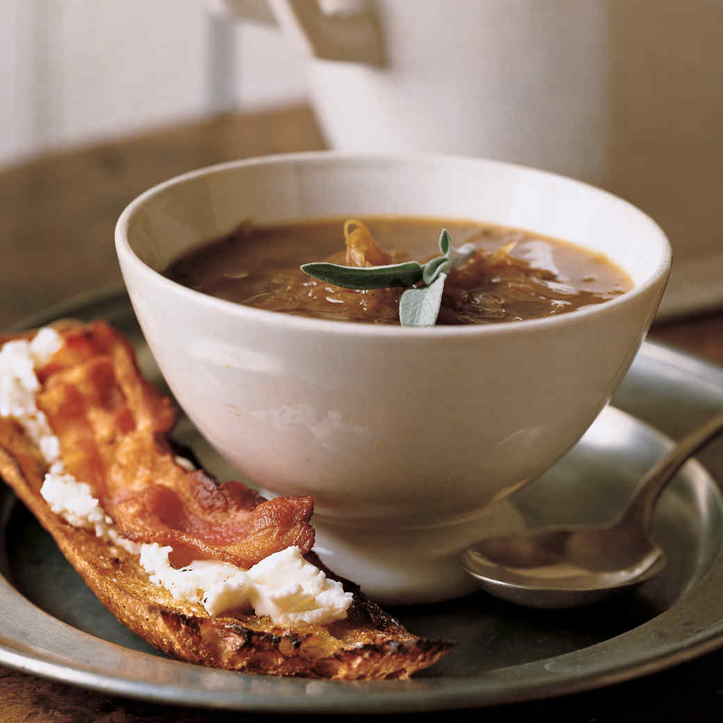 Four-Onion Ginger Soup with Goat-Cheese Toasts