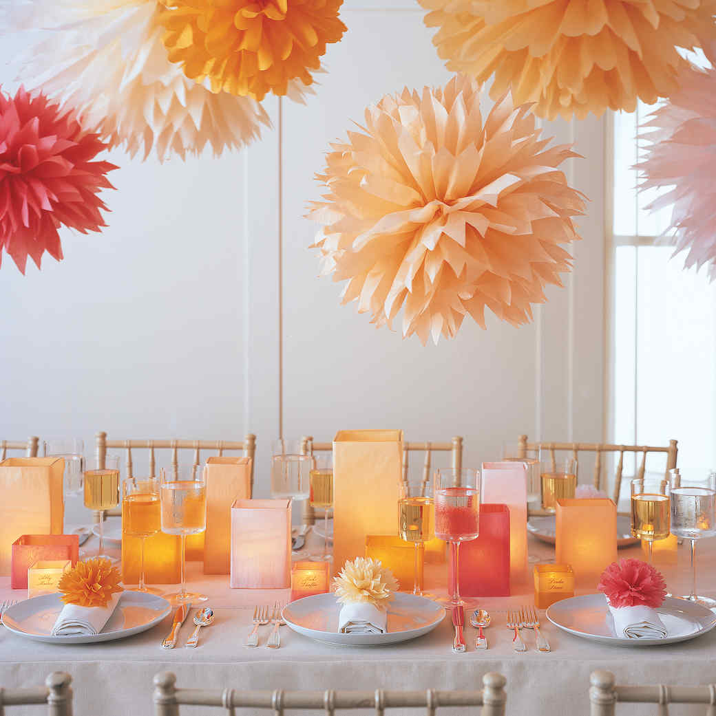 Table decoration for party - Pom Poms And Luminarias