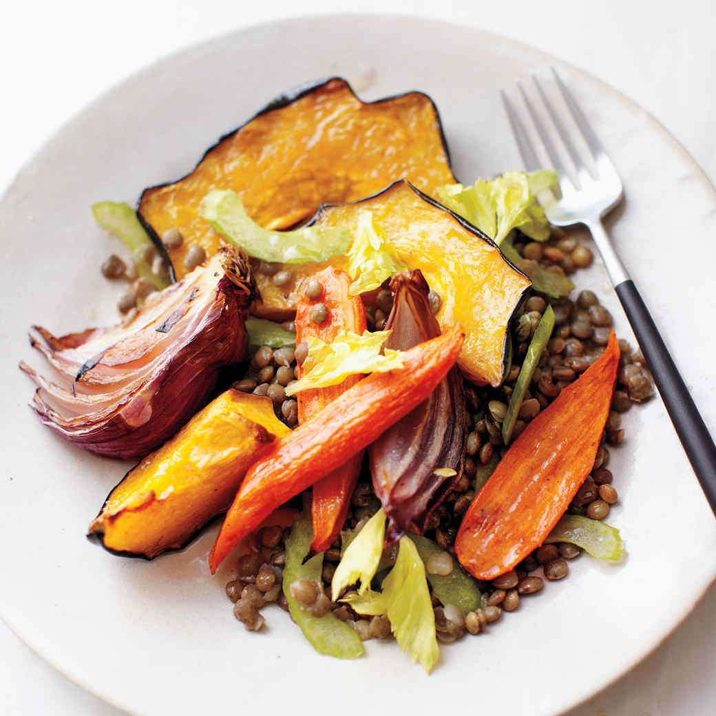 Roasted Fall Vegetables with Lentils