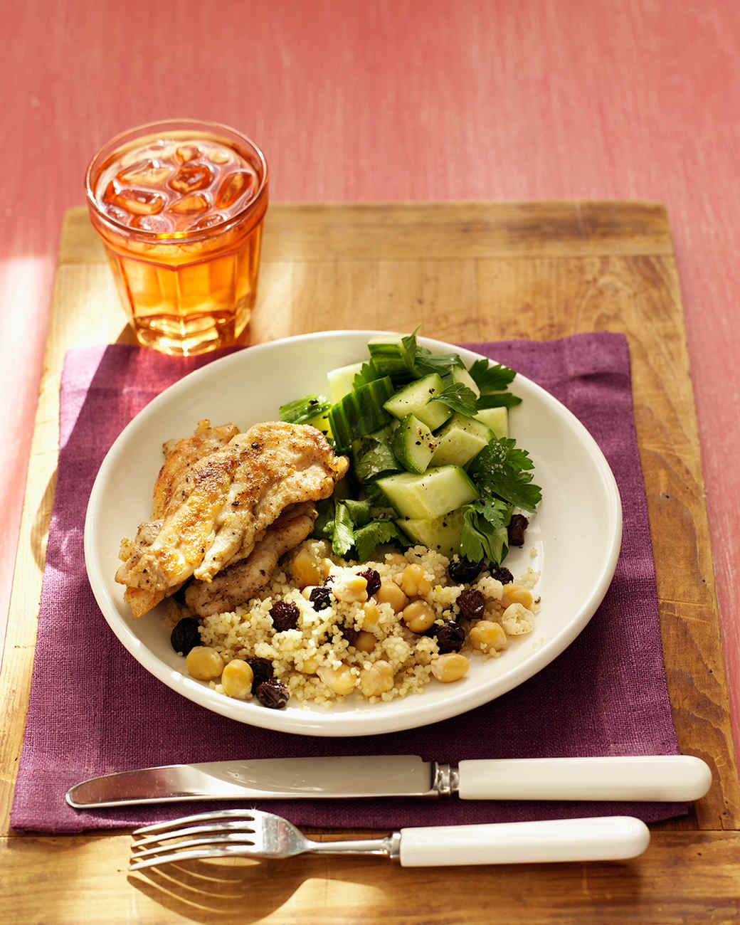 Chicken Tenders with Cucumber Salad and Chickpea Couscous Recipe ...