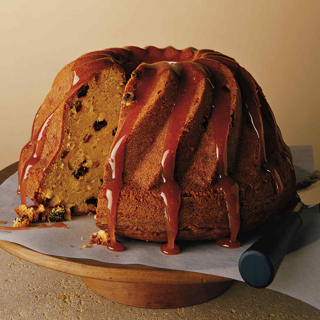 Coconut Rum-Raisin Bundt Cake with Rum-Caramel Glaze