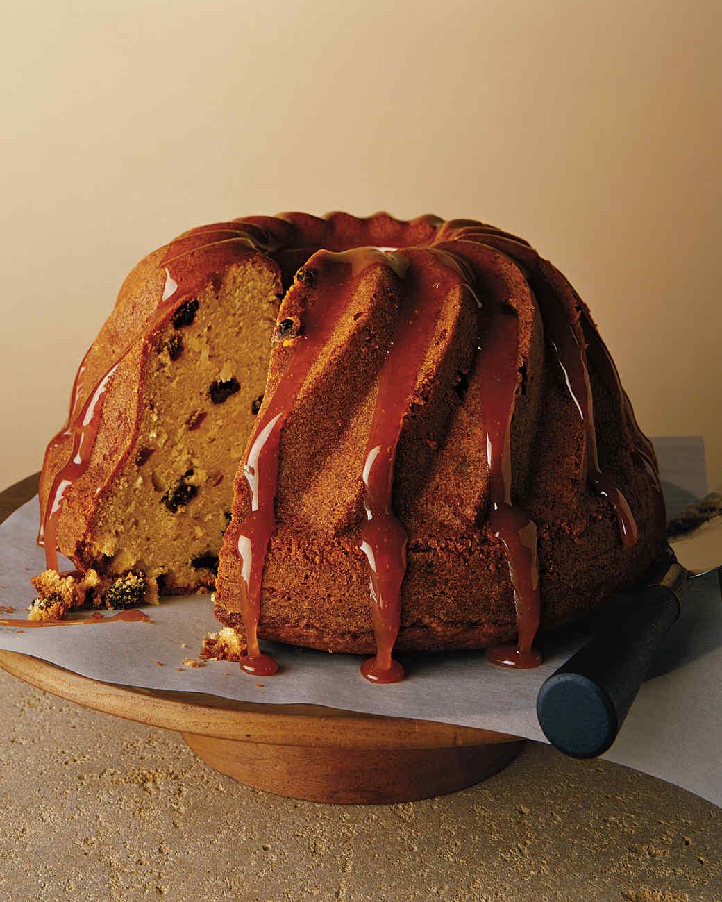 Coconut Rum-Raisin Bundt Cake with Rum-Caramel Glaze