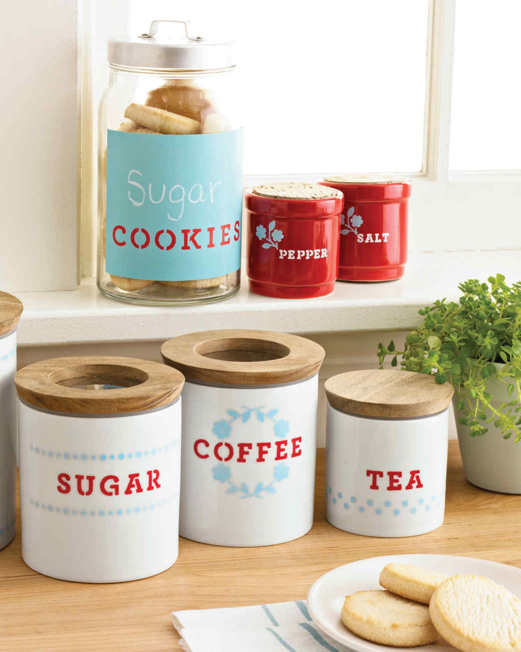 Kitchen Storage Containers stenciled kitchen storage containers