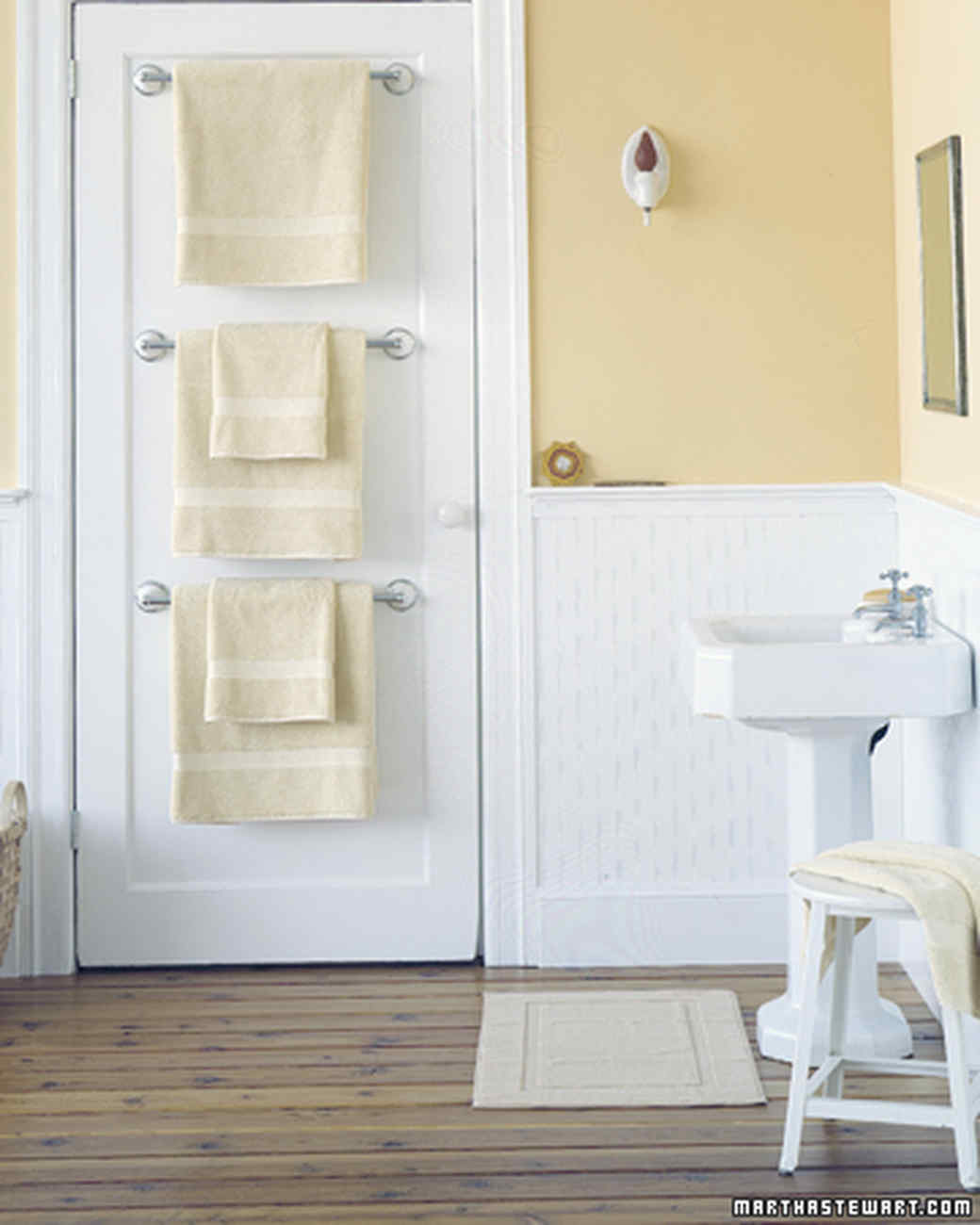 Multiple towel rack diy bathroom storage ideas for small spaces - 25 Bathroom Organizers Martha Stewart
