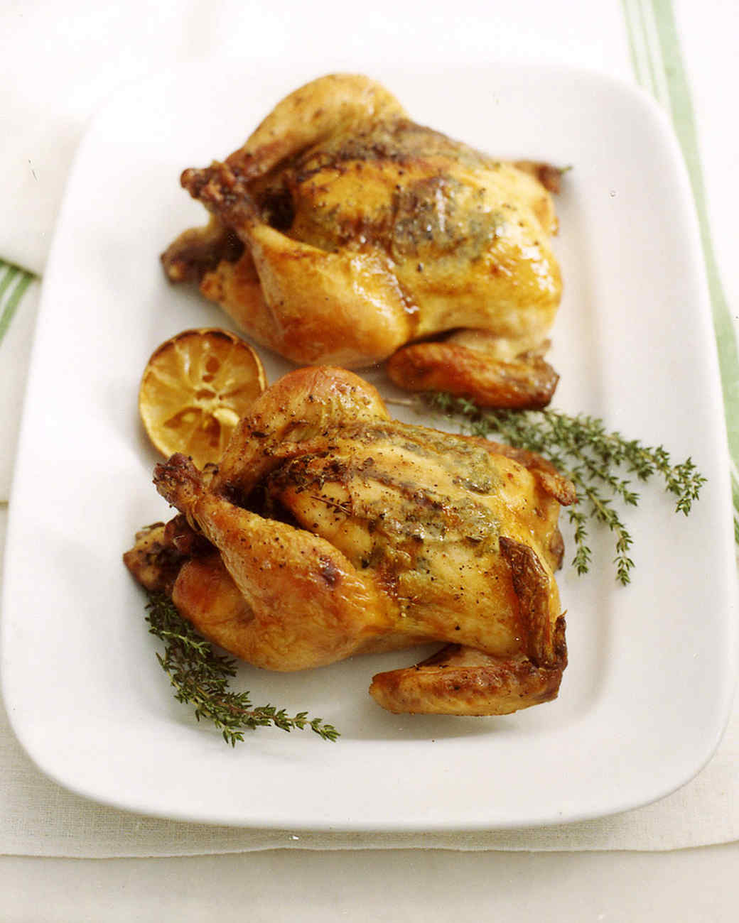 Cornish Hens with Lemon and Herbs Recipe | Martha Stewart