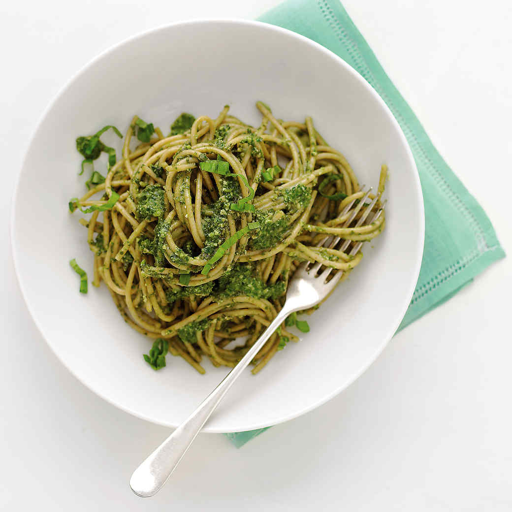 Whole-Wheat Spaghetti with Lighter Pesto