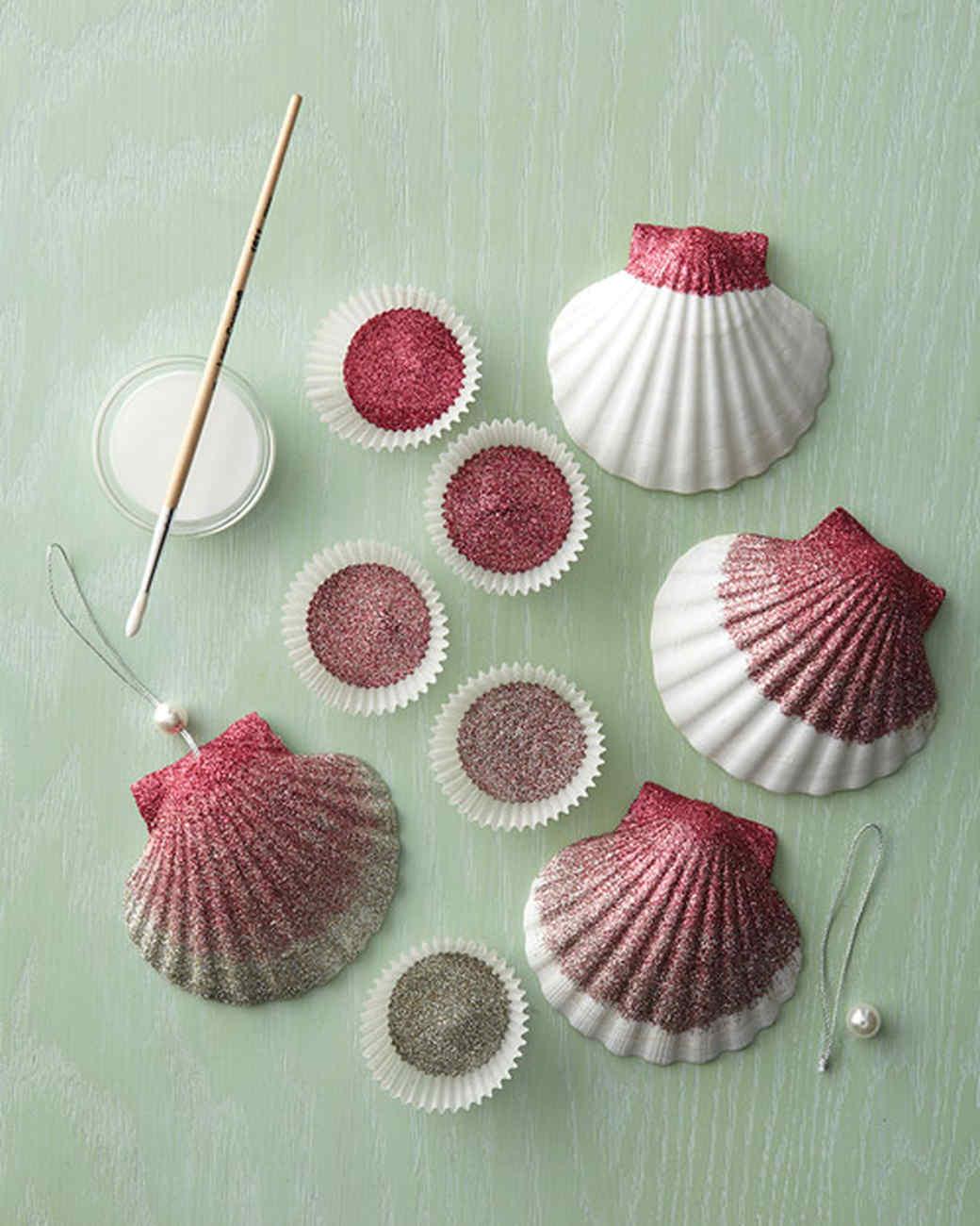 Ombre Glittered Seashell Ornaments & Video | Martha Stewart