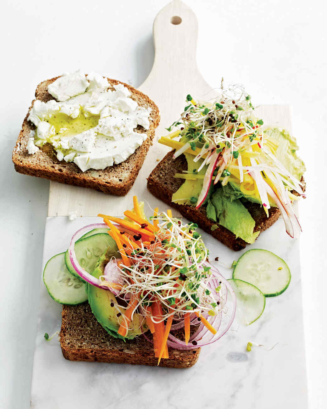 Avocado-and-Sprout Club Sandwiches Recipe | Martha Stewart