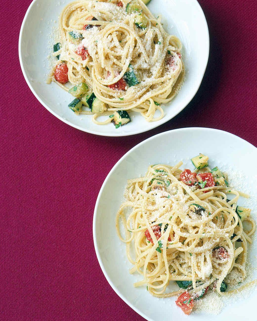 Menu for Roasted Zucchini and Tomato Pasta