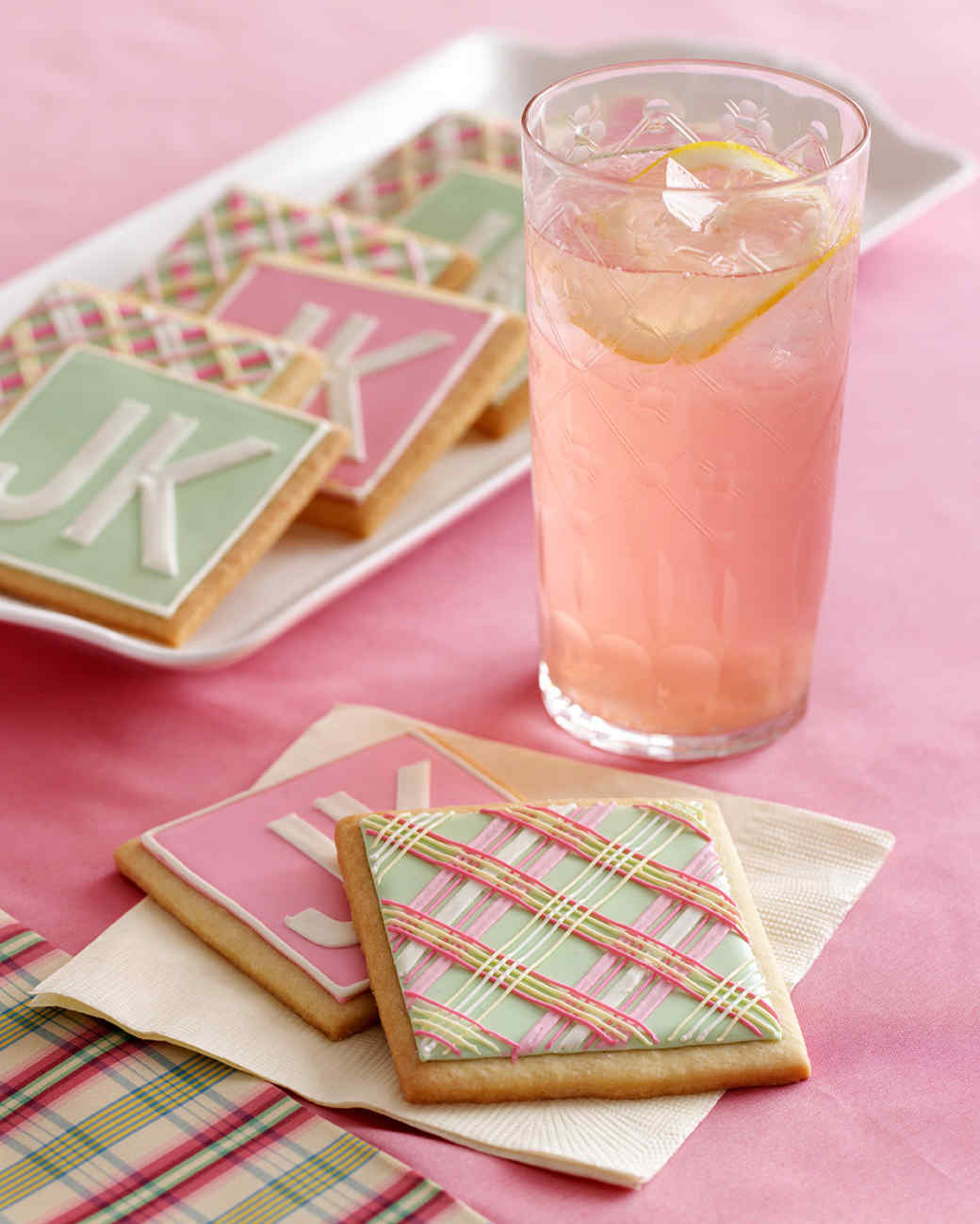 pink lemonade plaid cookies