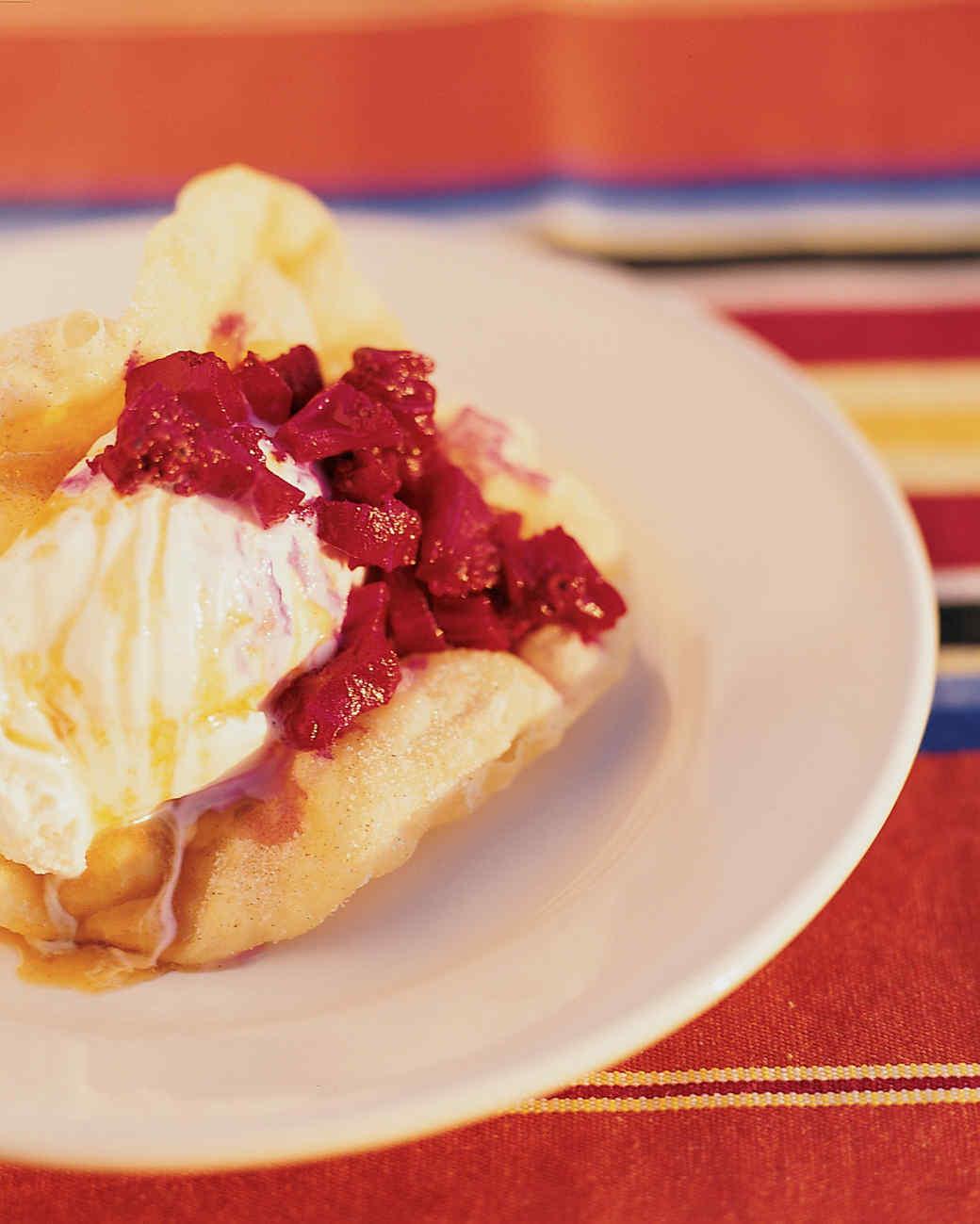 Bunuelos with Vanilla Ice Cream and Cactus Berries