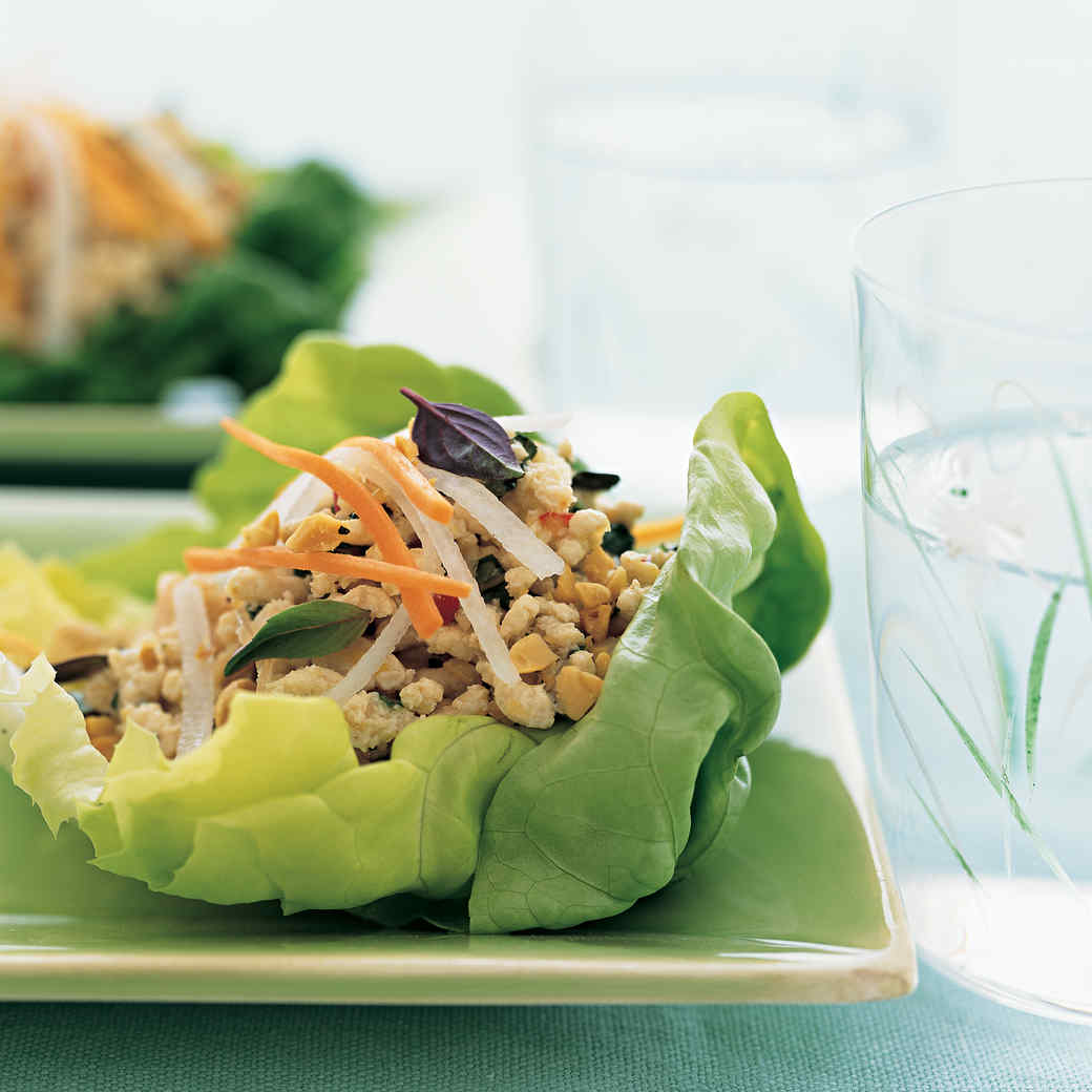 Spicy Chicken Salad in Lettuce Cups