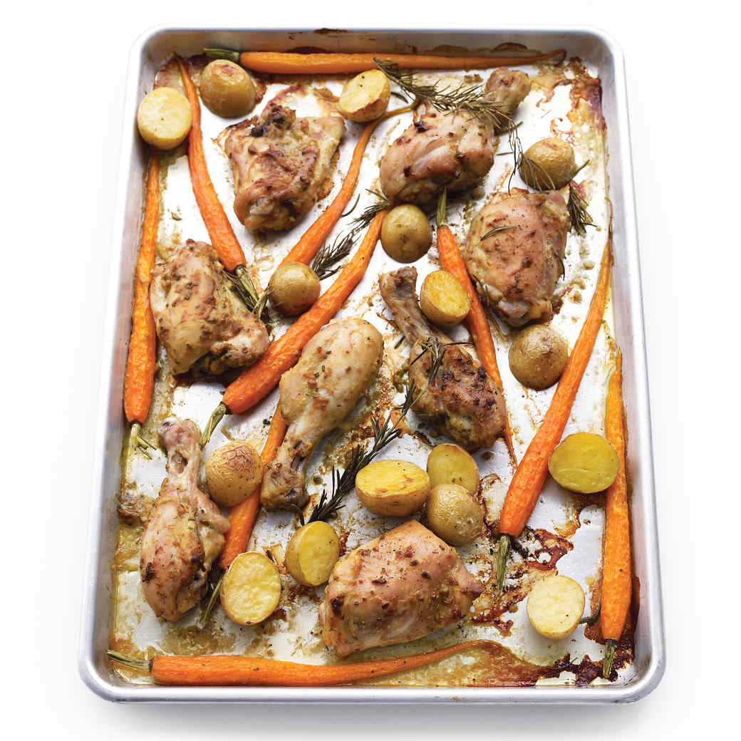 Mustard-Rosemary Chicken With Carrots and Potatoes