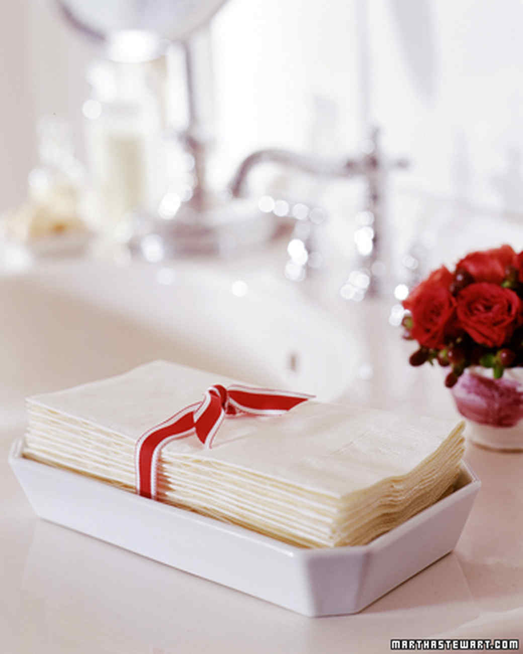Bathroom Napkins prepping for houseguests | martha stewart
