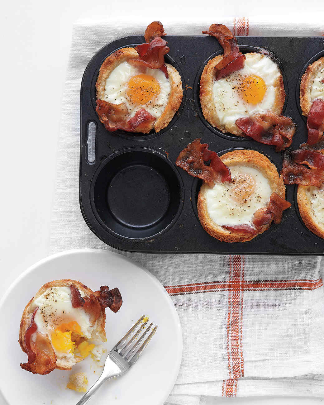 Bacon, Egg, and Toast Cups Recipe  Video Martha Stewart