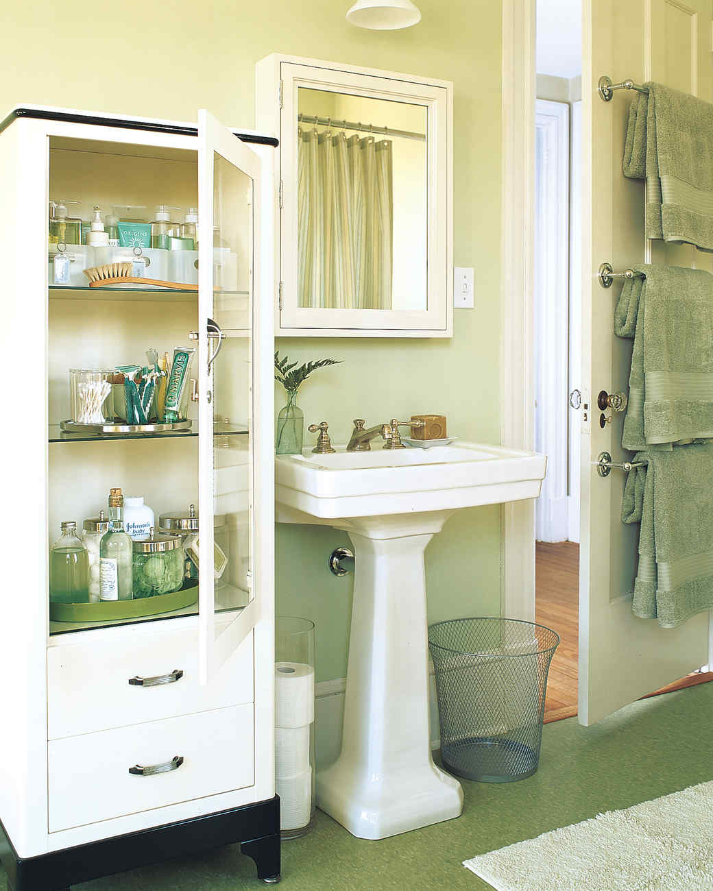 smart space-saving bathroom storage ideas | martha stewart