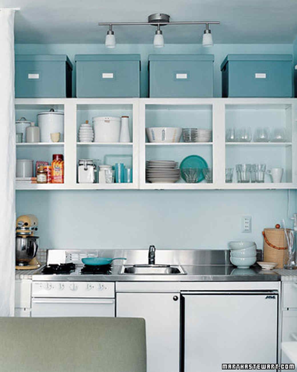 Small kitchen storage ideas for a more efficient space for Long kitchen wall units