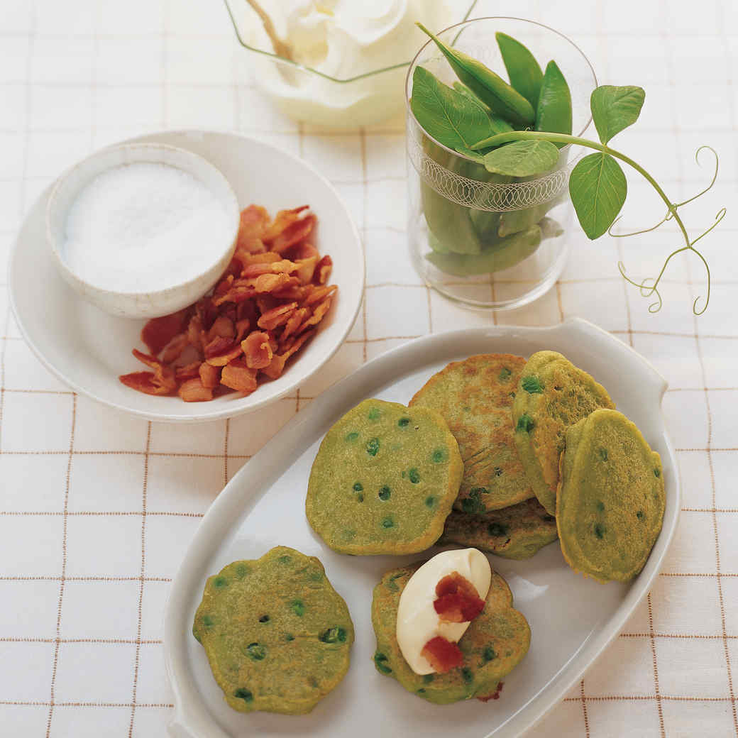 Pea Pancakes with Sour Cream and Bacon