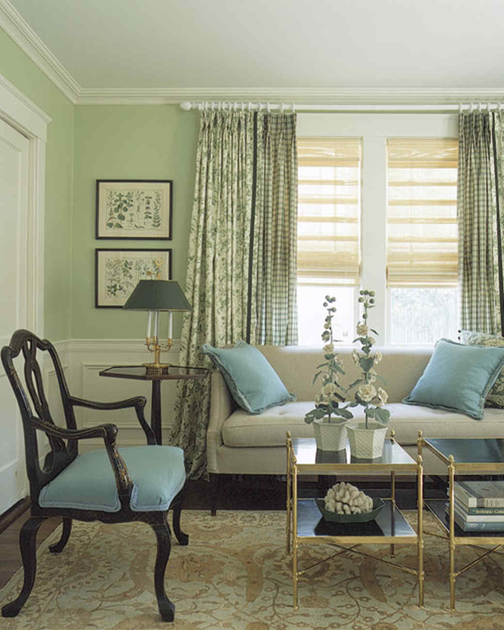 Green Living Room Designs: Martha Stewart