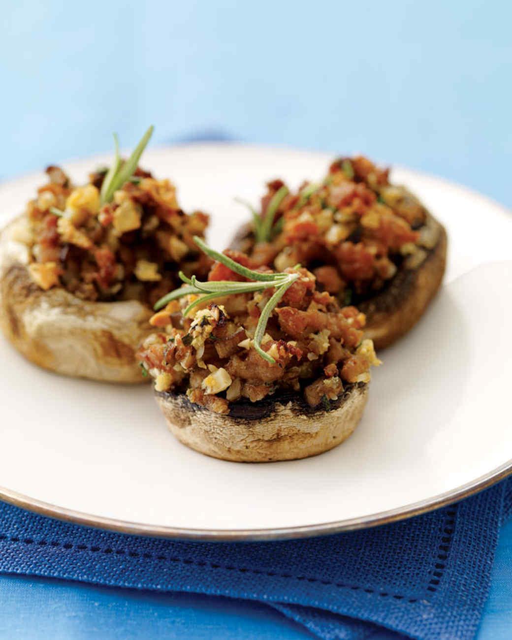 Hazelnut and Turkey-Sausage Stuffed Mushrooms