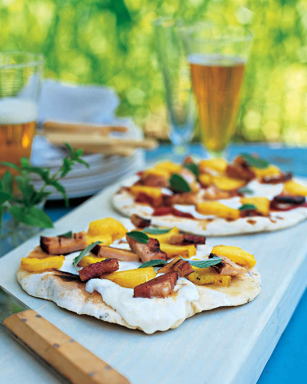 Grilled Pizzas with Canadian Bacon and Pineapple