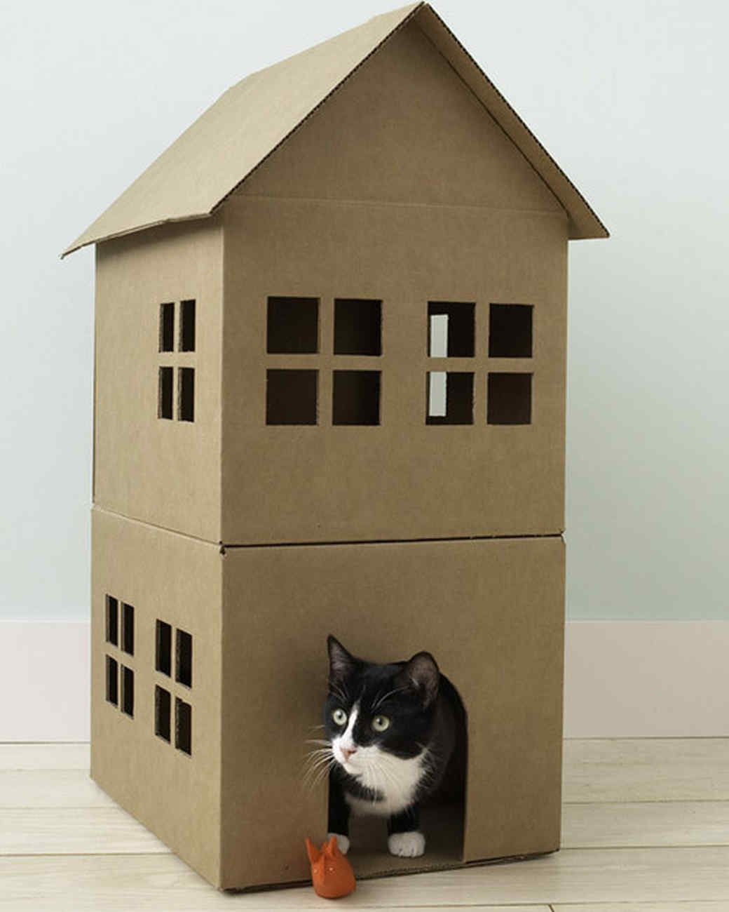Cardboard House For Cats How To Make A Cardboard Cat Playhouse Martha Stewart