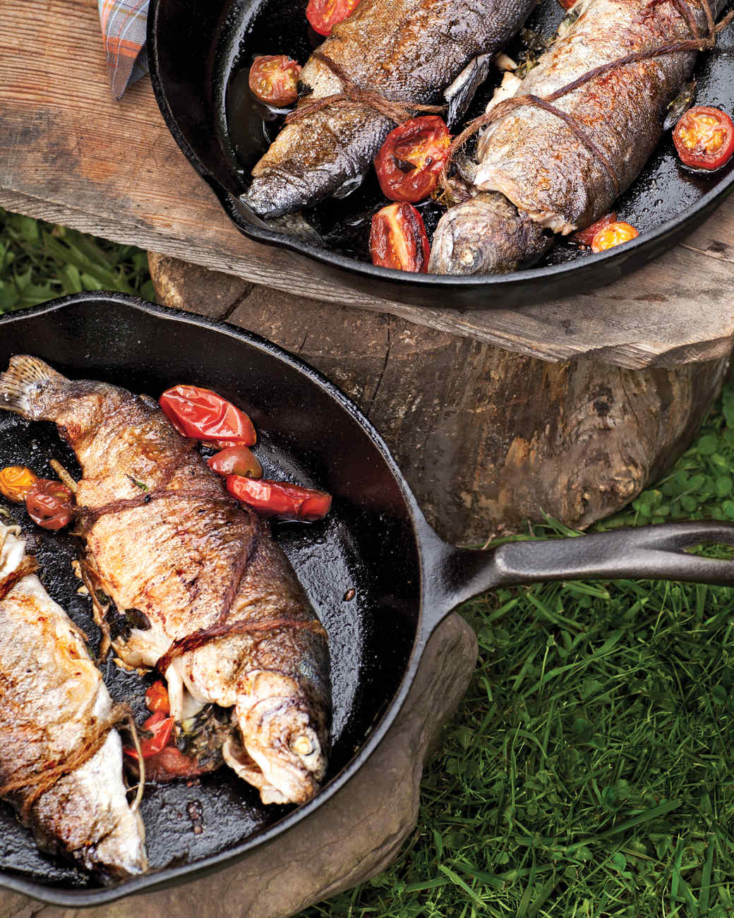 Skillet fried trout with herbs and tomatoes recipe for Iron in fish