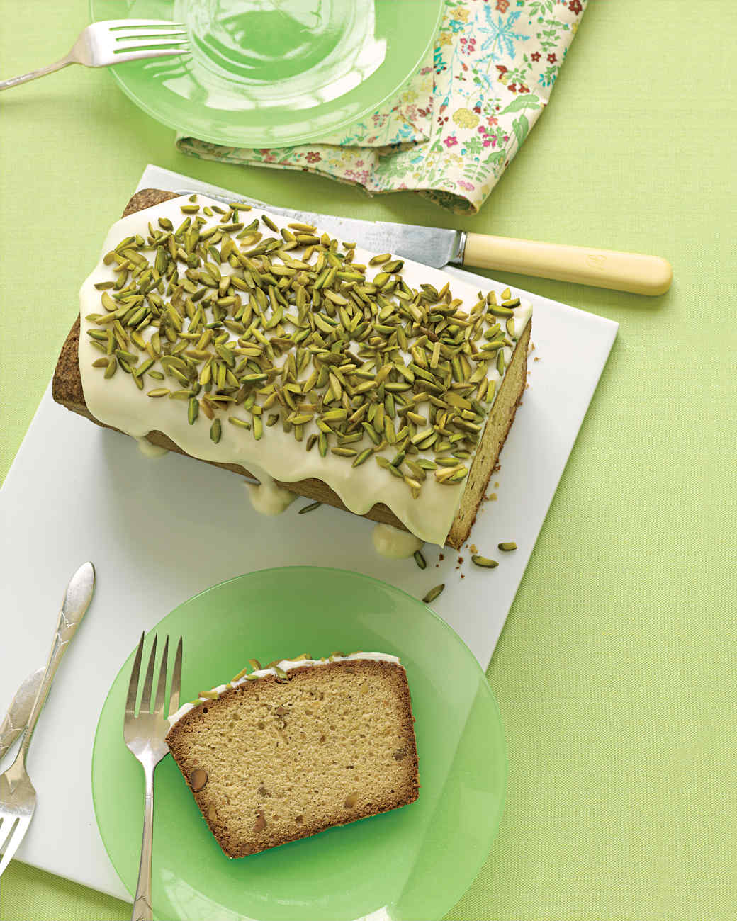 Pistachio Pound Cake with Drippy Icing