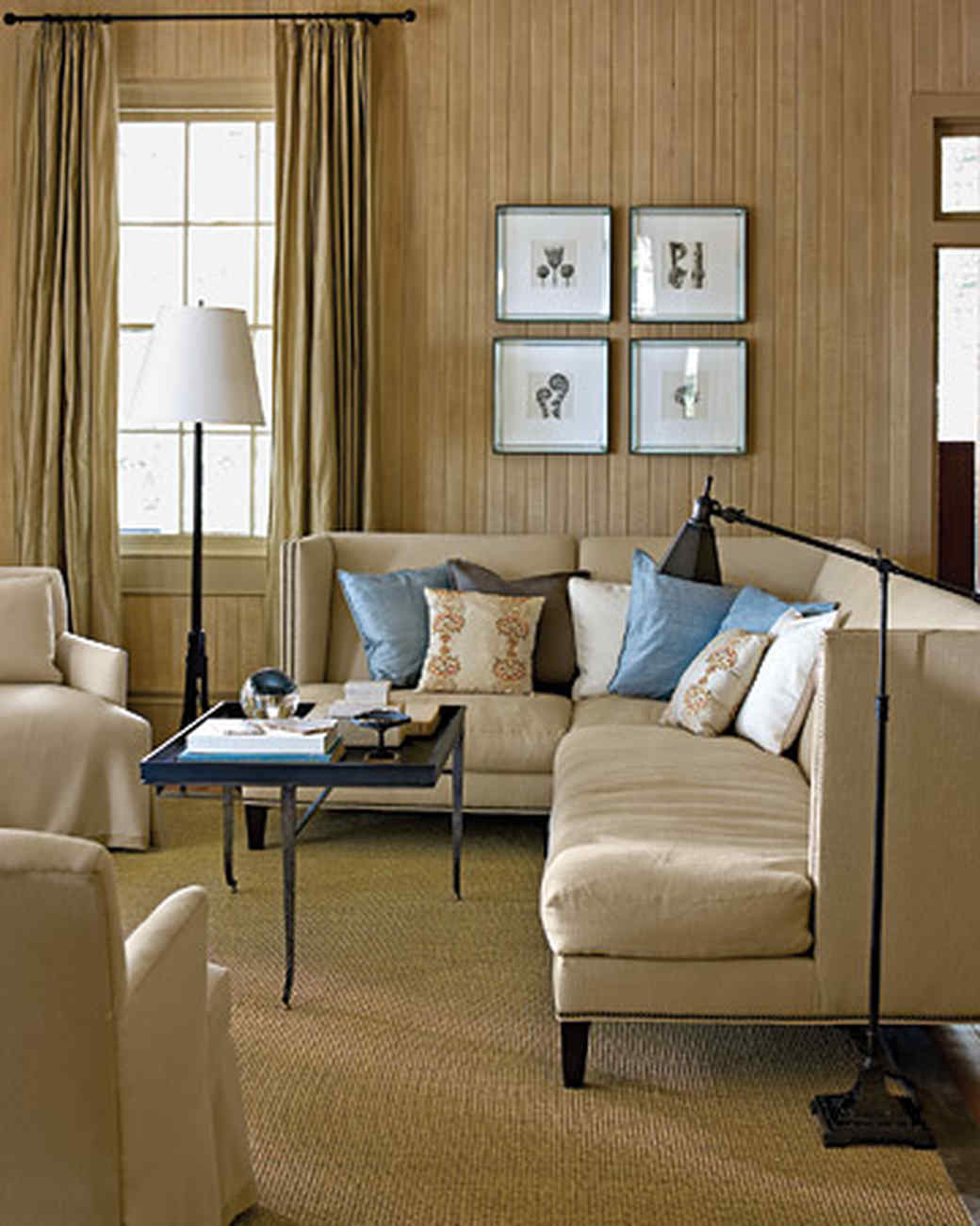 Neutral rooms martha stewart for What color curtains go with beige walls and dark furniture