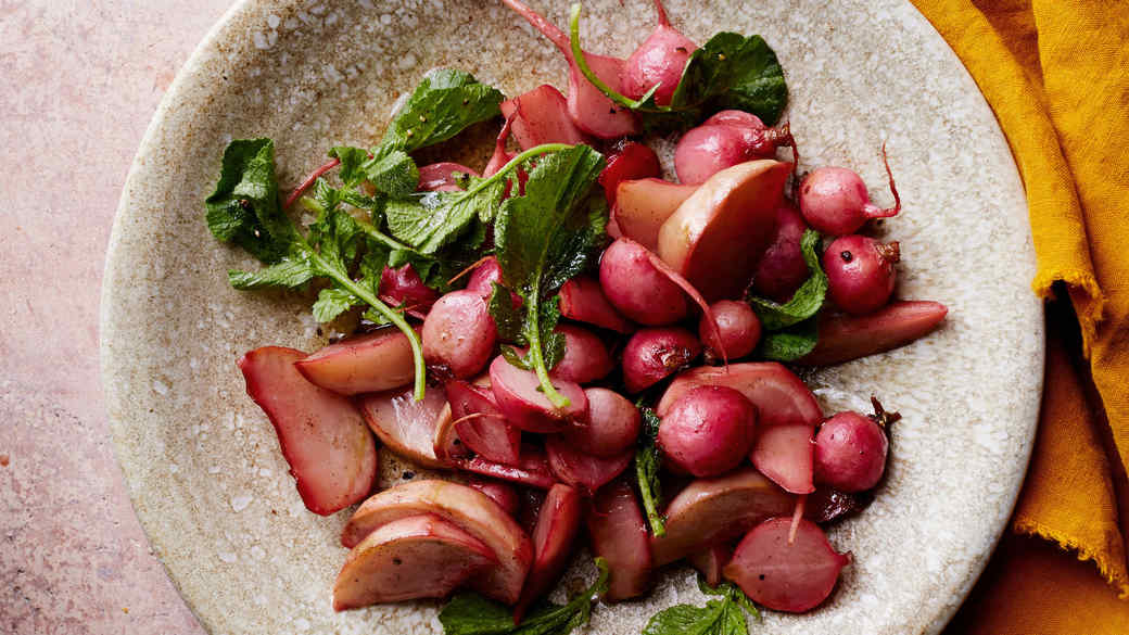 Lillet and Brown-Butter Glazed Radishes with Kohlrabi