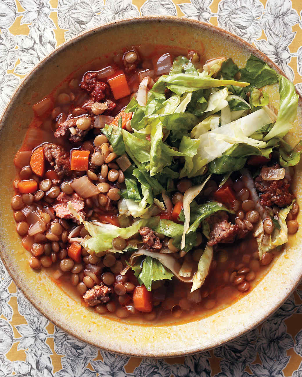 Spicy-Sausage and Lentil Stew With Escarole Salad Recipe ...