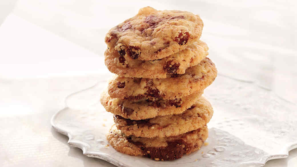 Cornmeal Chocolate-Chunk Cookies with Raisins and Fennel Seeds